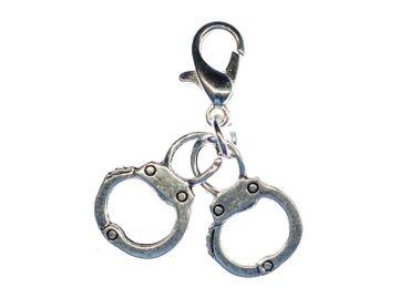 Handschellen Charm Anhänger Bettelarmband Miniblings Charms Polizei silber – Bild 3