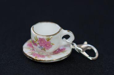 Coffee Cup Tea Pot Charm Zipper Pull Pendant For Bracelet  Wristlet Miniblings Flowers – Bild 1