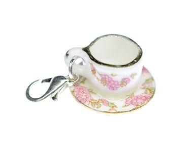 Coffee Cup Tea Pot Charm Zipper Pull Pendant For Bracelet  Wristlet Miniblings Flowers – Bild 2