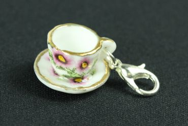 Coffee Cup Tea Pot Charm Zipper Pull Pendant For Bracelet  Wristlet Miniblings Golden Rim – Bild 4