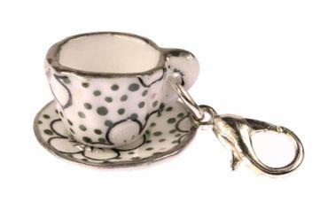 Coffee Cup Tea Pot Charm For Bracelet  Wristlet Miniblings Dots Dark Green Black Dot – Bild 1
