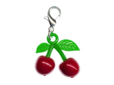 Cherries Cherry Fruit Charm Zipper Pull Pendant Miniblings Rockabilly Red Green