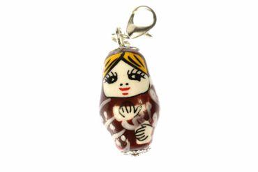 Matroschka Babuschka Russland Charm Anhänger Miniblings Russland Puppe braun