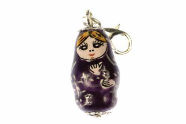 Matryoshka Babuschka Matryoshkarussia Charm Miniblings Russian Doll Violet Purple