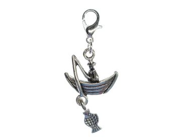 Boat Fisherman And Fish Charm Zipper Pull Pendant Sea Fishing Ship