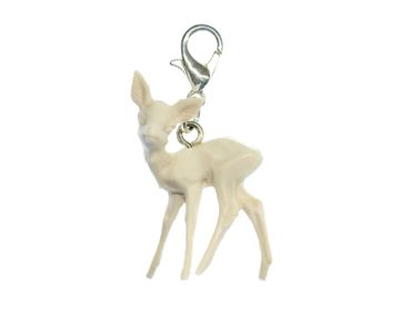 Deer Bambi Charm For Bracelet Wristlet Dangle Miniblings Fawn Deer White – Bild 2