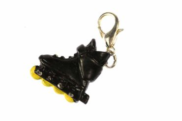 Roller Blades Charm Roll Skate Inline In-Line Skates Miniblings Black Yellow