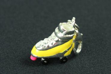 Rollschuh Charm Anhänger Bettelarmband Miniblings Rollschuhe Diskoroller gelb – Bild 2