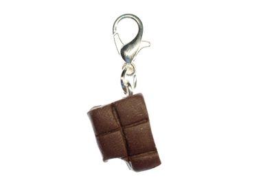 Chocolate Charm Zipper Pull Pendant Miniblings Chocolate Bar Sweets Bite