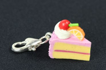 Cake Slice Of Cake Biscuit Piece Pastry Charm Pink Strawberry Miniblings – Bild 2