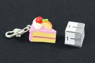 Cake Slice Of Cake Biscuit Piece Pastry Charm Pink Strawberry Miniblings – Bild 3