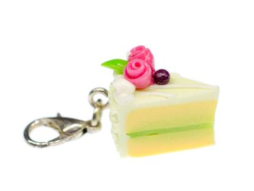 Cake Slice Of Cake Biscuit Piece Pastry Charm Miniblings Lime Green