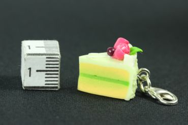 Cake Slice Of Cake Biscuit Piece Pastry Charm Miniblings Lime Green – Bild 2