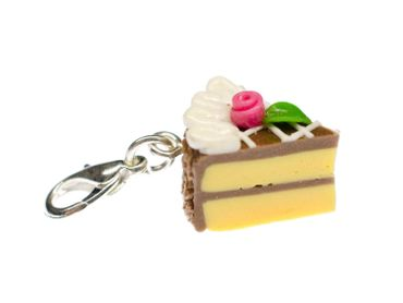Cake Slice Of Cake Biscuit Piece Pastry Charm Miniblings Chocolate Brown – Bild 1