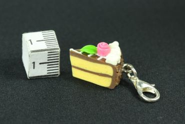Cake Slice Of Cake Biscuit Piece Pastry Charm Miniblings Chocolate Brown – Bild 2