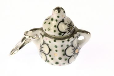 Sugar Bowl Charm For Bracelet Wristlet Dangle Miniblings Charms Coffee Tea Green
