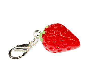 Erdbeer Charm Bettelanhänger Anhänger Miniblings Charms Erdbeere rot rund 3D – Bild 4