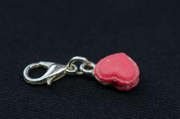 Herz Charm Bettelanhänger Anhänger Miniblings Herzchen Keks Doppelkeks Liebe rot – Bild 3
