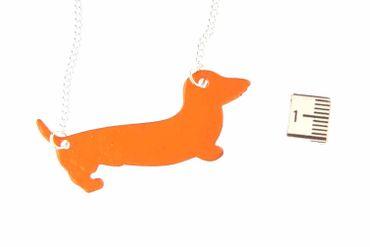 Enamel Dachshund Dog Necklace Miniblings Black Sausage Dog Enamelled Orange – Bild 3