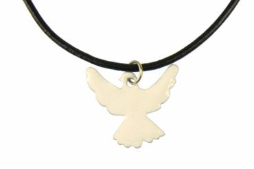 Enamel Dove Peace Swallow Necklace Miniblings Bird Leather 45cm White – Bild 4