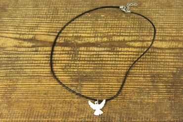 Enamel Dove Peace Swallow Necklace Miniblings Bird Leather 45cm White – Bild 3