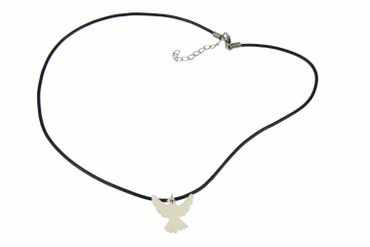 Enamel Dove Peace Swallow Necklace Miniblings Bird Leather 45cm White – Bild 5