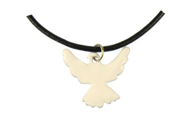 Enamel Dove Peace Swallow Necklace Miniblings Bird Leather 45cm White – Bild 1