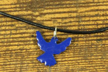 Enamel Dove Peace Swallow Necklace Miniblings Bird Leather 45cm Blue – Bild 2