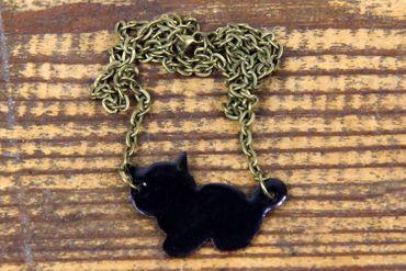 Emaille Katze Kette Miniblings Halskette Katzenkette emailliert 45cm Cat schwz – Bild 3