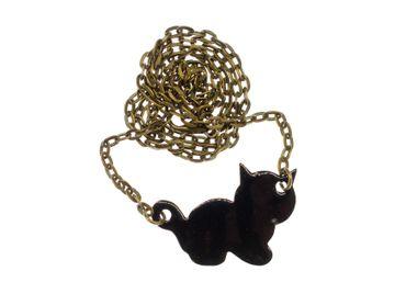 Enamel Cat Necklace Miniblings Kitten Enamelled 45cm Feline Pet Black – Bild 1