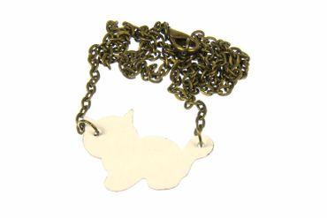 Emaille Katze Kette Miniblings Halskette Katzenkette emailliert 45cm Cat weiß – Bild 2