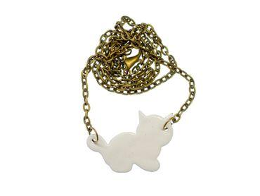 Enamel Cat Necklace Miniblings Enameled Cats Kitten Pet Feline White – Bild 2