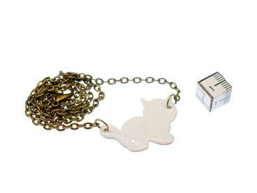 Enamel Cat Necklace Miniblings Enameled Cats Kitten Pet Feline White – Bild 3