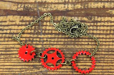 Enamel Gear Sprocket Necklace 3 Red Steampunk Enamelled 60cm – Bild 2