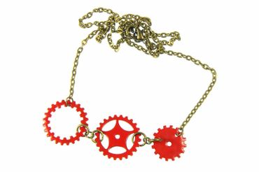 Enamel Gear Sprocket Necklace 3 Red Steampunk Enamelled 60cm – Bild 3