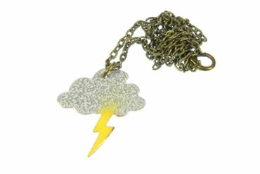 Emaille Gewitter Kette Miniblings Halskette Wolke Blitz Donner Wetter Cloud 60cm