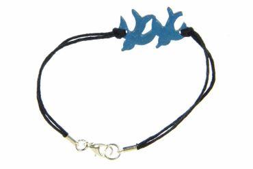 Emaille Armband Schwalben Vögel Miniblings Vogel Schwalbe Tauben emailliert blau – Bild 1