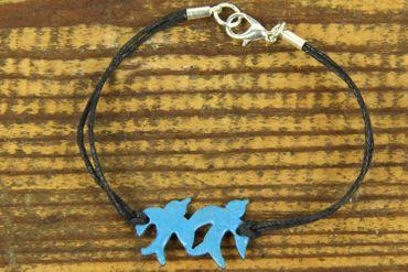 Emaille Armband Schwalben Vögel Miniblings Vogel Schwalbe Tauben emailliert blau – Bild 2