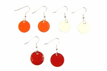 Enamel Discs Earrings Miniblings Pendant Enamelled Round Circle 16mm – Bild 1