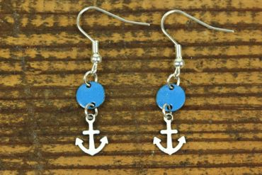 Enamel Anchor Earrings Miniblings Pendant Circle Maritime Ahoy White Blue – Bild 2