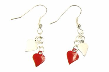 Enamel 2 Hearts Earrings Miniblings Pendant Enameled Heart Valentine Red – Bild 1