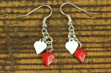 Enamel 2 Hearts Earrings Miniblings Pendant Enameled Heart Valentine Red – Bild 2