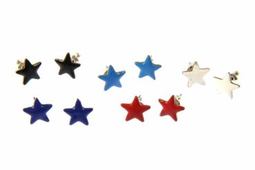 Enamel Star Earrings Ear Studs Earstuds Miniblings Enameled Sky Shining 12mm – Bild 1