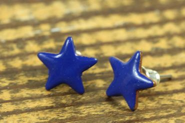 Enamel Star Earrings Ear Studs Earstuds Miniblings Enameled Sky Shining 12mm – Bild 2
