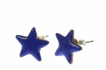 Enamel Star Earrings Ear Studs Earstuds Miniblings Enameled Sky Shining 12mm – Bild 3