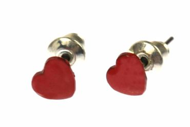 Enamel Heart Earrings Ear Studs Earstuds Miniblings Hearts Valentine Love 6mm – Bild 1