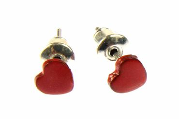 Enamel Heart Earrings Ear Studs Earstuds Miniblings Hearts Valentine Love 6mm – Bild 3