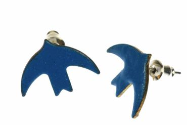 Enamel Swallow Earrings Ear Studs Earstuds Miniblings Birds Dove Blue Bord Animal – Bild 1