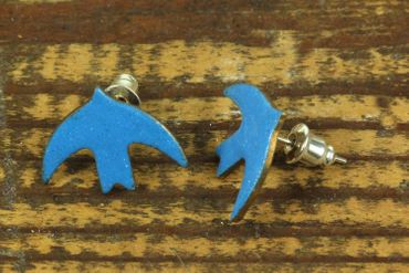 Enamel Swallow Earrings Ear Studs Earstuds Miniblings Birds Dove Blue Bord Animal – Bild 2