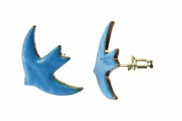 Enamel Swallow Earrings Ear Studs Earstuds Miniblings Birds Dove Blue Bord Animal – Bild 3